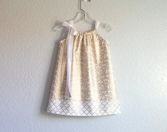Girls Metallic Gold Dress - Gold and White Pillowcase Dress - Girls Metallic Gold Party Dress - Size 12m, 18m, 2T, 3T, 4T, 5, 6, 8 or 10
