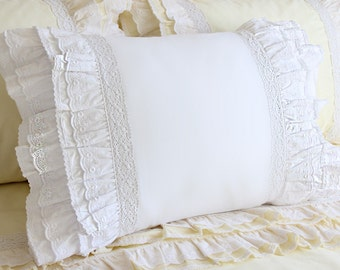 White Cotton Ruffle Cotton Eyelet Lace Pillow Sham Pillowcase Victorian Shabby Chic Cottage French Parisian Wedding gift