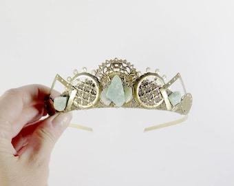 Elaria Green Quartz and Gold Filigree Crystal Tiara - by Loschy Designs