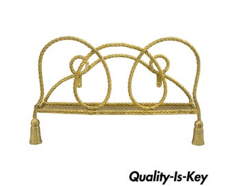 Vintage Italian Hollywood Regency Gold Rope Tassel Magazine Rack Wall Mount Iron