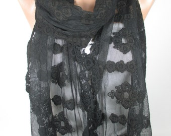Black Lace Scarf Shawl Wedding Scarf Women Cowl Scarf Christmas Gifts For Her For Women Spring Fall Women Fashion Accessories  MELSCARF