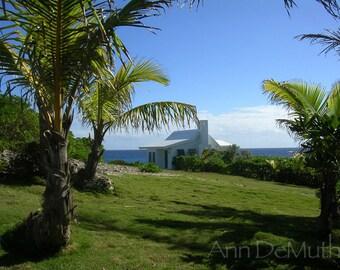 Photography, Hopetown Cottage By-the-Sea, Bahamas, Fine Art Print, Home Decor, 5x7, 8x10, 11x14, Wall Art, Blue, Green, Sea, Fine Art Print