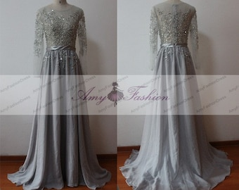 Grey Beaded Evening Dress,Long Sleeve Womens Formal Evening Gown 2017,See Through Top Long With Sleeves,Gray Sheer Chiffon Party Dresses