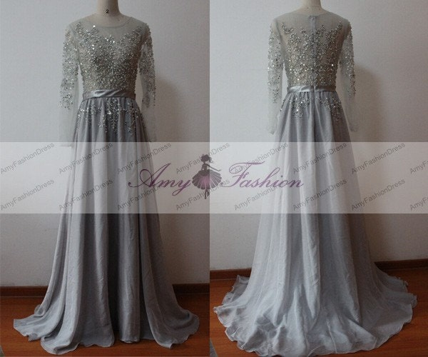 Grey Beaded Evening DressLong Sleeve Womens Formal Evening