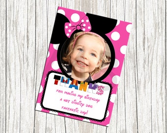 Minnie Mouse Birthday Thank You Card - Custom with Photo