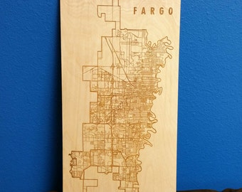 City of Fargo Laser Engraved Wood Map