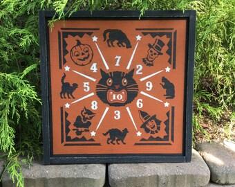 Halloween, Sign, Game Board, Dart Board, Black Cat, Signs, Witch, Owl, Primitive, Rustic, Pumpkin, Skeleton, Retro, Vintage, Wood, JOL