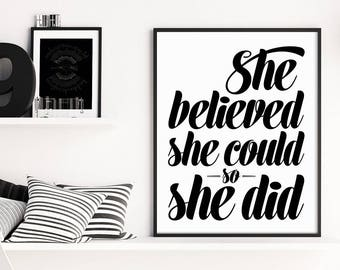 Graduation Gift, She Believed She Could, Inspirational Wall Art, Typography Prints, Minimalist Inspirational Quote, Office Art, Typography