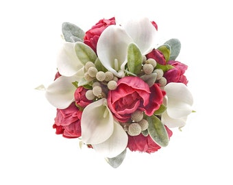 Stemple's Gatherings- Real Touch Raspberry Peonies,White Callas, Dried Brunia & Lamb's Leaf-In a vase or a bouquet
