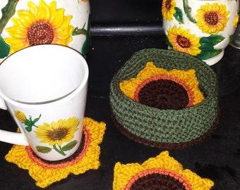 Crochet pattern, Sunflower Coaster, Jar Coaster, Mug Coaster, Sunflower Potholder, Crochet Sunflower, PDF File Only, Housewares