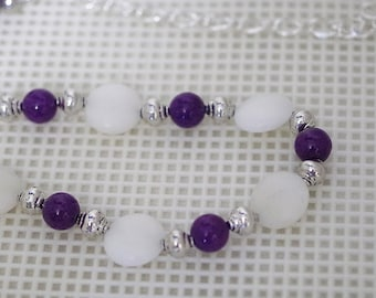 Gemstone Necklace - Purple Mountain Jade and White Calcite - Adjustable from 17 to 22 Inches