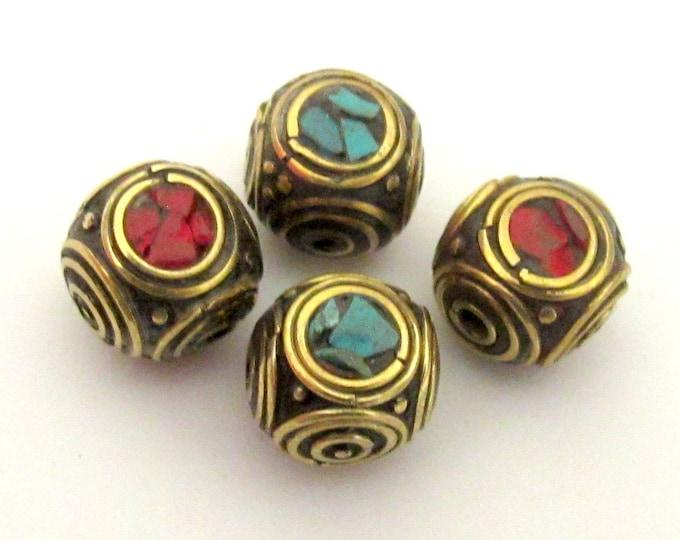 1 piece - Beautiful cuboid nepal brass beads - BD068