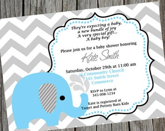 Blue Elephant Chevron Baby Shower Invitation Blue Grey