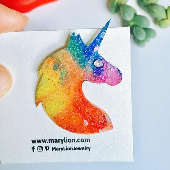 Rainbow unicorn pin - Unicorn brooch - Unicorn pin - Holographic glitter unicorn pin - 90's fishy pin - Rainbow fashion jewelry