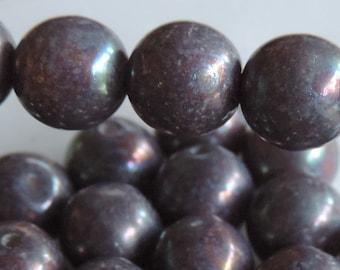 8mm Acid Washed Purple Czech Glass Druk Beads (30)