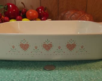 Vintage Country Hearts Corningware Corning Casserole Dish  ( A - 21 -B ) ( A21B )