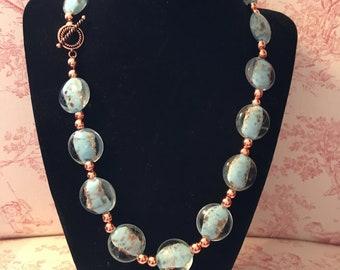 Aqua and copper glass bead necklace
