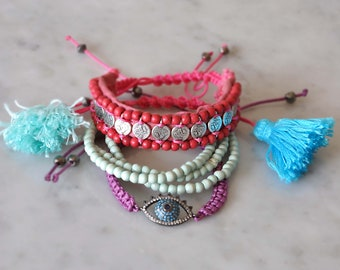 Bohemian Set of 3,  Gypsy boho bracelets,  Beaded Ethnic Bracelets,  Free Shipping
