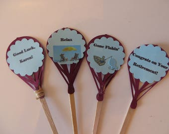 Retirement cupcake toppers - happy retirement, party picks, cupcake toppers, congratulations on your retirement