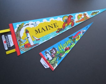 Maine Felt Souvenir Pennant // Vintage Retro Mid Century Travel Souvenir Banner or Flag New Unused Camp Cabin Decor Wall Hanging Imprint Art