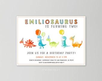Dinosaur birthday invitation - Boys birthday invitation - Colorful dinosaur invitation - Dinosaur parade - Digital birthday invitation