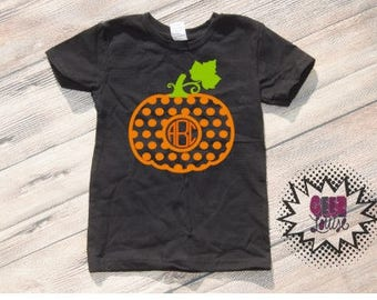 Halloween Monogram Bodysuit Infant Trick or treat Orange and black baby Unisex Cotton  t-shirt vinyl pumpkin spice fall autumn