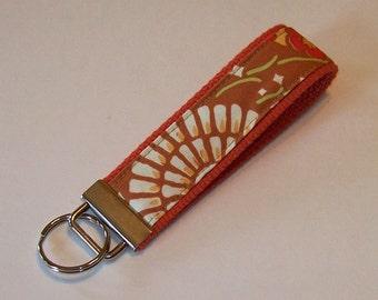 Key Fob Wristlet - Key Chain - Key Ring - Amy Butler Geisha Fans - Camel