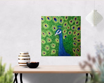 Animal Painting - Animal Art - Original PEACOCK PAINTING 12 x 12 - Blue Bird Painting - Peacock Decor - Canvas Art - Peacock Wall Art