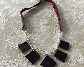 Leather diamonds and chain necklace