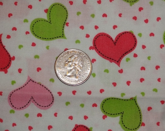 """Pink Green Hearts Valentines Cotton Quilting Fabric 1 yard + 15"""" inches only"""