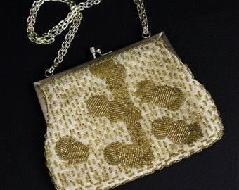 Cute Kitchsy Vintage 1960s Walborg Gold Beaded Purse Chain Strap Made in Hong Kong