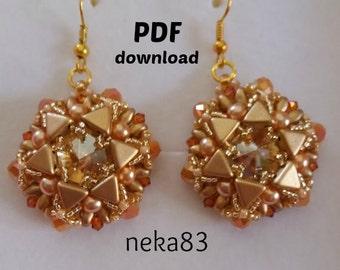 PDF tutorial, earrings Layla, pattern PDF, superduo pattern, tutorial PDF, beading tutorial, kheops pattern,