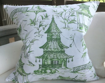 "Lacefield Designs Pillow Cover in jade ""Pagoda""  white Backing, Choose Size Option"
