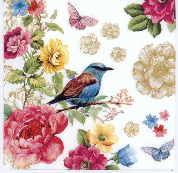 4 Decoupage Napkins Bird Of Paradise Flowers Butterflies