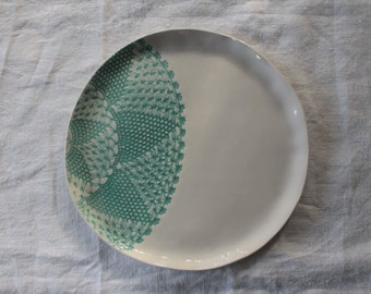 Large Ceramic Plate / Dinner Plate / Stoneware Plate / Cake Plate /  Lace Texture / Green Design