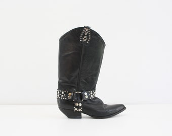 Size 6.5-7: Woman's Vintage GUESS Georges Marciano Black Leather with Silver Studs Bad Ass Cowgirl Cowboy Boots