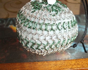 bright aluminum and green aluminum chainmaille pouch
