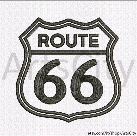 Route 66 Sign Embroidery Applique Design Instant Download
