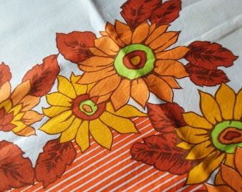 Flower Power Print in Oranges Tablecloth