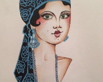 Tattoo girl head painting - traditional tattoo - watercolour painting - great gatsby- 1920's Art Deco