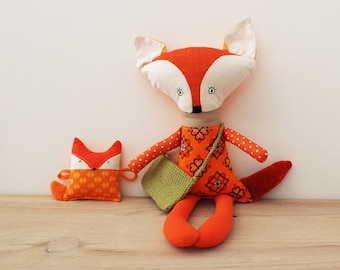 Fox Toy with Fox Pup, Doll Fox to play, Woodland Soft Toy, Orange Fox Toy, Fox Plushie Shower Gift Gender Neutral, Woodland Nursery Decor