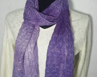 Handmade Alpaca Scarf, Suri Alpaca Scarf, Knit Lace Scarf, Homegrown Suri Alpaca,100% Alpaca Scarf, Hand Dyed Purple Ombre