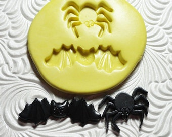 BAT and SPIDER Duo Silicone Rubber Push Mold for Resin Wax Fondant Clay FIMO Halloween Theme