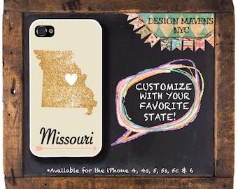 Missouri iPhone Case, Gold iPhone Case, Personalized State Love iPhone Case, iPhone 8, 8 Plus, iPhone 7, 7 plus, iPhone 6, 6s, 6 Plus, SE
