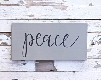 Peace Sign, Wood Sign, Handmade, Cursive, Holiday Sign, Giftgiving, Home Decor, Modern Farmhouse, Holiday Decor