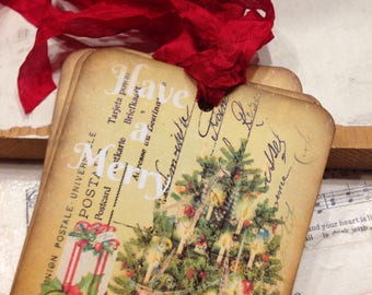 Gift Tags Christmas Have A Merry Christmas Tag Set Vintage Christmas Tree Tags Shabby Chic Style Christmas Tags Vintage Holiday Gift Tags