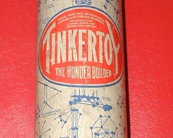 vintage Tinker Toy set in original container The Wonder Builder wood