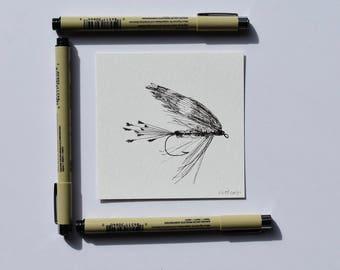 Fishing Gift, Custom Drawing, Custom Father's Day Art, Custom Fly Drawing, Fly Fishing Art, Angler Art, Fly Ink Drawing, Fisherman Art