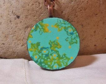 Turquoise Boho Necklace - duo sided handmade wooden pendant - crazy paisley mandala - long hang!