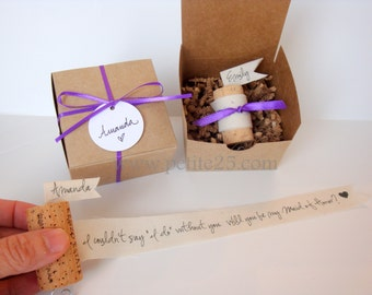 One (1)-  Wine Cork Bridesmaid Proposal - Will you be my bridesmaid, invitation, rustic, natural, maid of honor, proposal